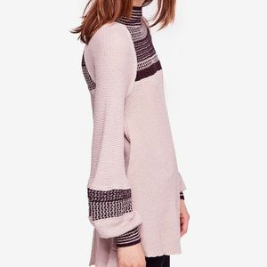 Free people snow day sleeve sweater in dusty mauve